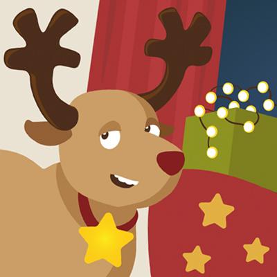 Weihnachtsspiel und Verpackung für Schokorentier
